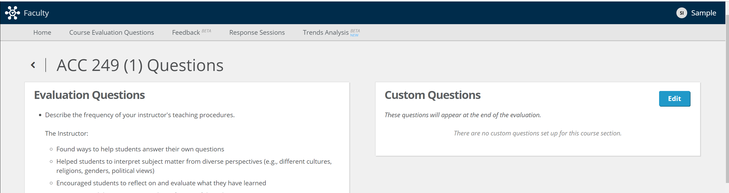 Adding Custom Questions To A Course Section As An Instructor